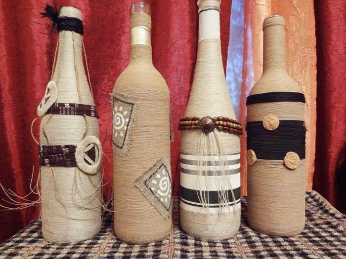Декор нитками пустых бутылок своими руками