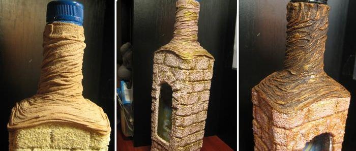 Декор горлышка стеклянной бутылки