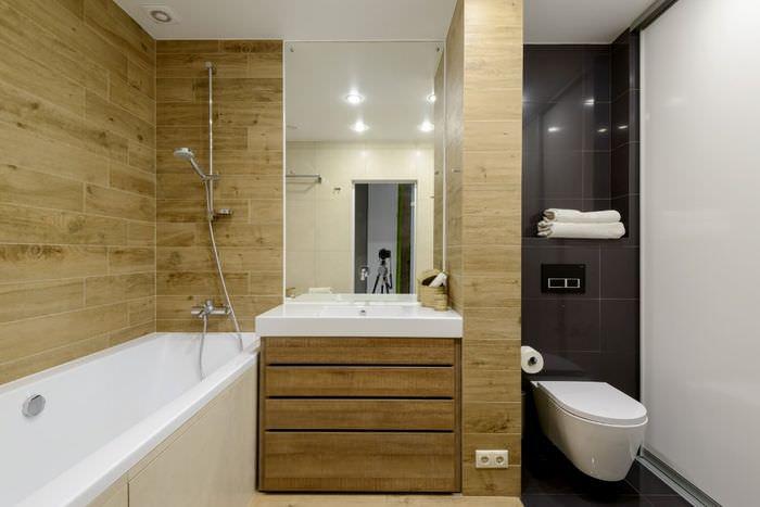 Отделка стен ванной комнаты натуральным деревом