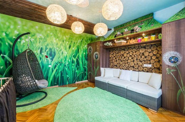 Интерьер детской комнаты в эко стиле