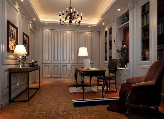 Интерьер кабинета в двухкомнатной квартире площадью 60 кв м