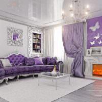 Фиолетовый цвет в интерьере современной гостиной