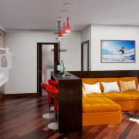 Дизайн гостиной с барной стойкой