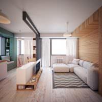 дизайн кухни-гостиной с белым диваном