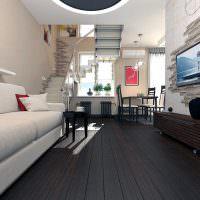Темно-коричневый пол в гостиной стиля модерн