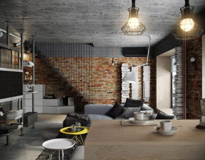 Бетонный потолок в гостиной стиля лофт