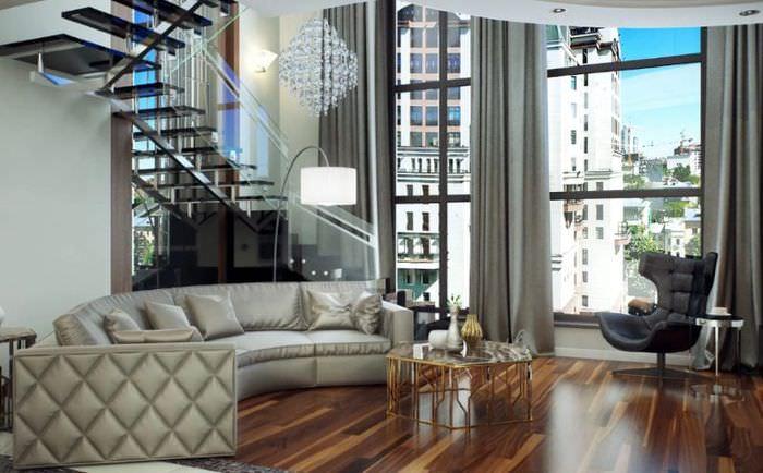Дизайн современной двухуровневой квартиры в стиле модерн