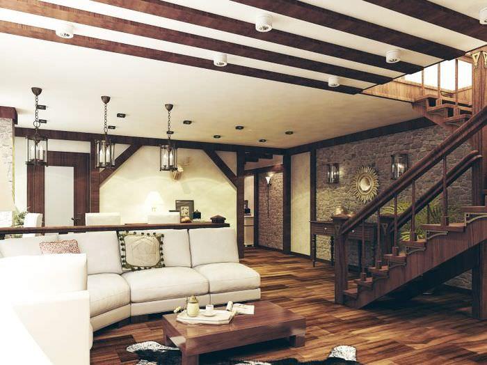 Просторная гостиная в стиле шале с лестницей в двухуровневой квартире