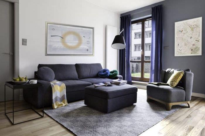 Дизайн современной гостиной в джинсовом стиле
