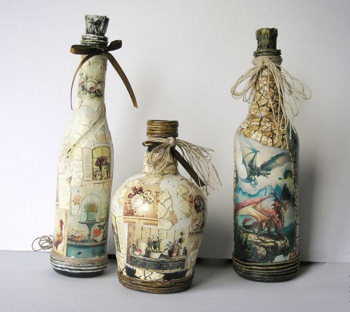 декорирование бутылок своими руками фото идеи поставить