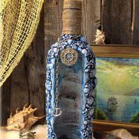 Украшение бутылки в морской тематике