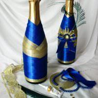 Декор шампанского атласными лентами