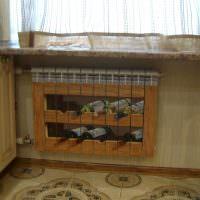 Роспись радиатора отопления под полки с винными бутылками