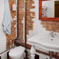 Медные трубы в ванной стиля лофт