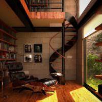 Домашняя библиотека в стиле лофт