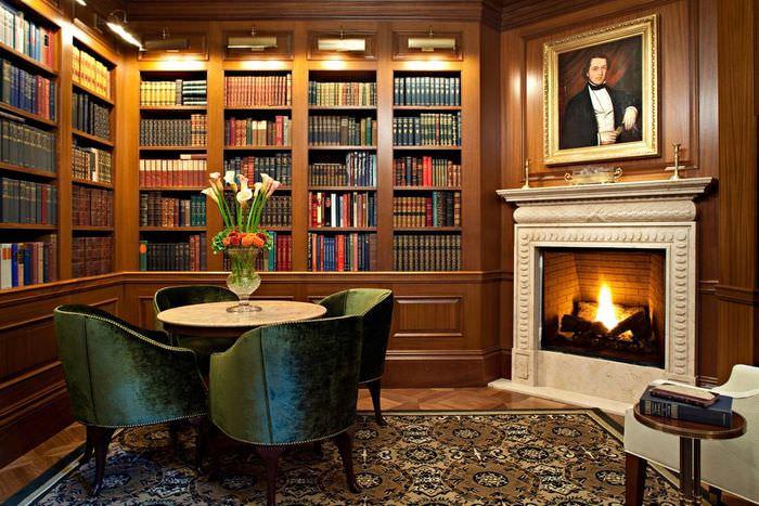 библиотека с камином фото они только риге