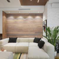 Выделение акцентной стены деревянными панелями