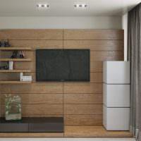 Черный телевизор на деревянных панелях