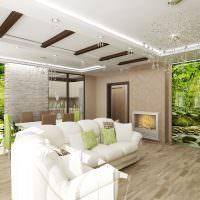 Фотообои с природными мотивами на стене гостиной