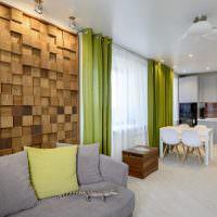 Деревянные панели в интерьере кухни-гостиной