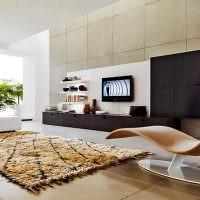 Гостиная в стиле минимализма с живыми растениями