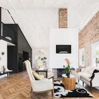 Белая гостиная с кирпичной стеной