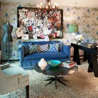 Мебельные предметы разлиного стиля в интерьере одной комнаты