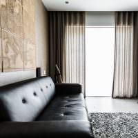 Кожаный диван черного окраса