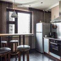 Дизайн кухни с нитяными шторами