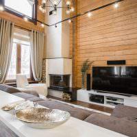 Дизайн кухни-гостиной в доме из бруса