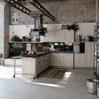 Стеллажи в интерьере кухни стиля лофт