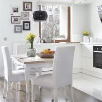 Дизайн белоснежной кухни в панельном доме