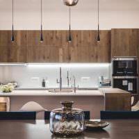 Кухня в стиле минимализма с деревянными фасадами