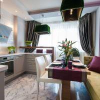 Обеденная зона в небольшой кухне-гостиной