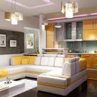 Стильные светильники на потолке кухни-гостиной