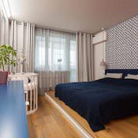 Интерьер спальни в двухкомнатной квартире 44т