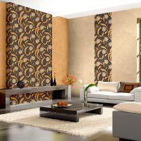 Дизайн современной гостиной с разнотонными обоями