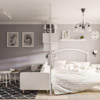 Зонирование однокомнатной квартиры легкой перегородкой