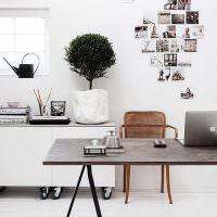 Фотографии на белой стене рабочего кабинета