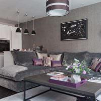 Кухня-гостиная в серых оттенках