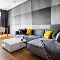 Отделка стены гостиной серыми панелями