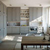 Кухонный гарнитур со шкафами до потолка