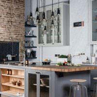Кухня с островом в стиле лофт