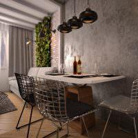 Металлические стулья из проволоки в интерьере кухни