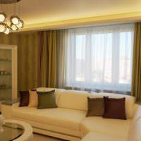 Реальное фото гостиной с угловым диваном