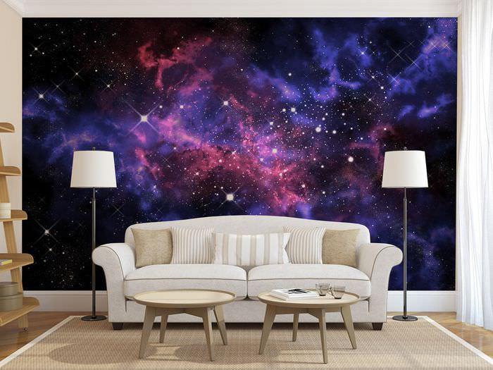 Интерьер гостиной с фотообоями на тему космоса