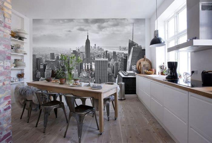 Фотообои в интерьере современной кухни