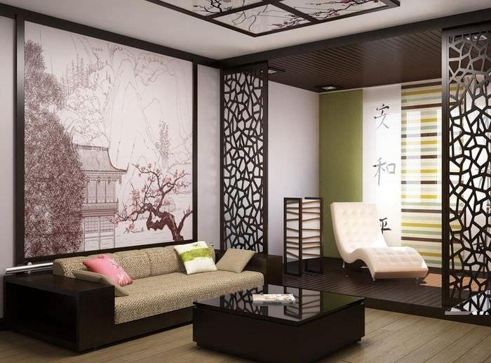Фотообои на стене спальни в китайском стиле