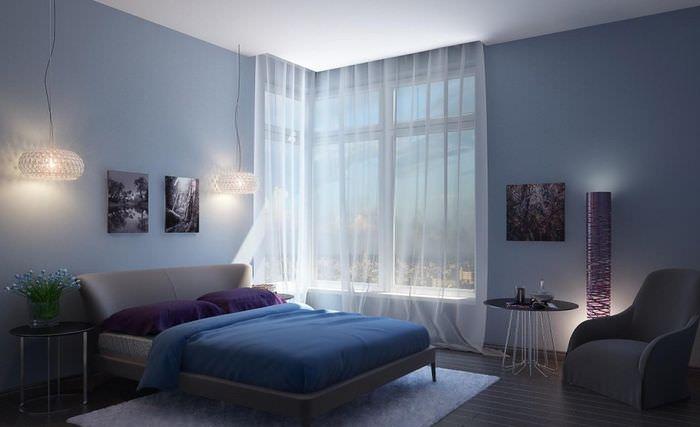 Современная спальня в голубых оттенках
