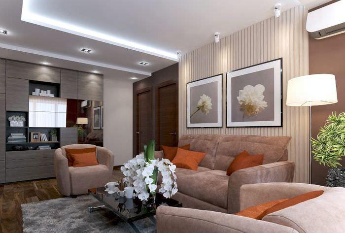 Дизайн проходной гостиной в квартире 44т